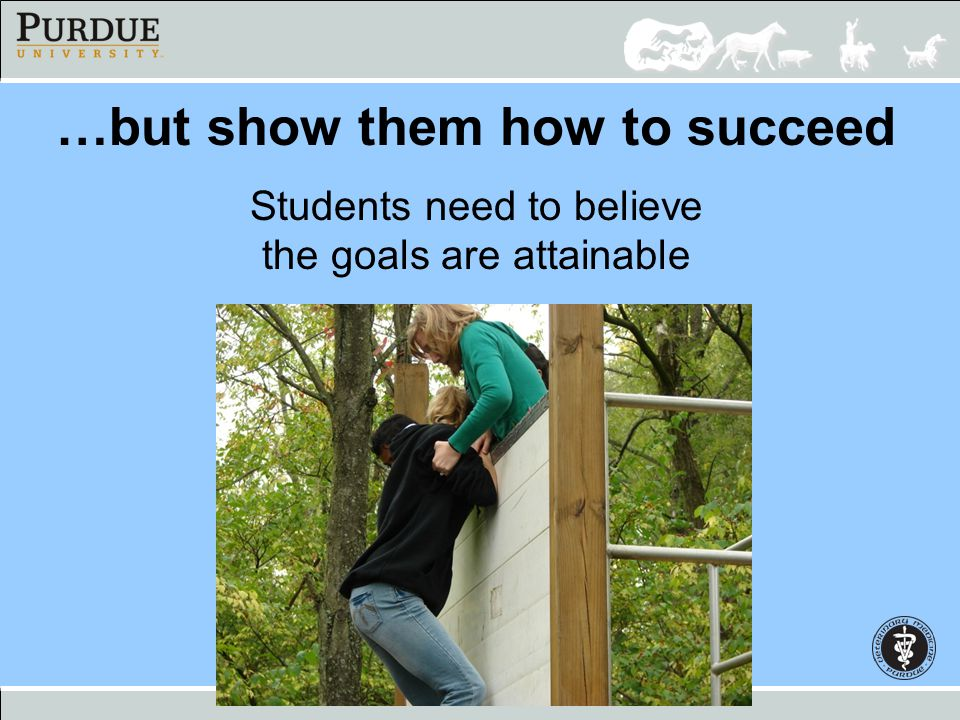 …but show them how to succeed Students need to believe the goals are attainable
