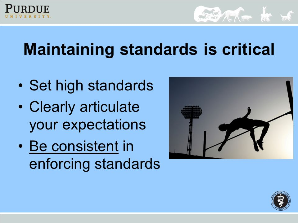 Maintaining standards is critical