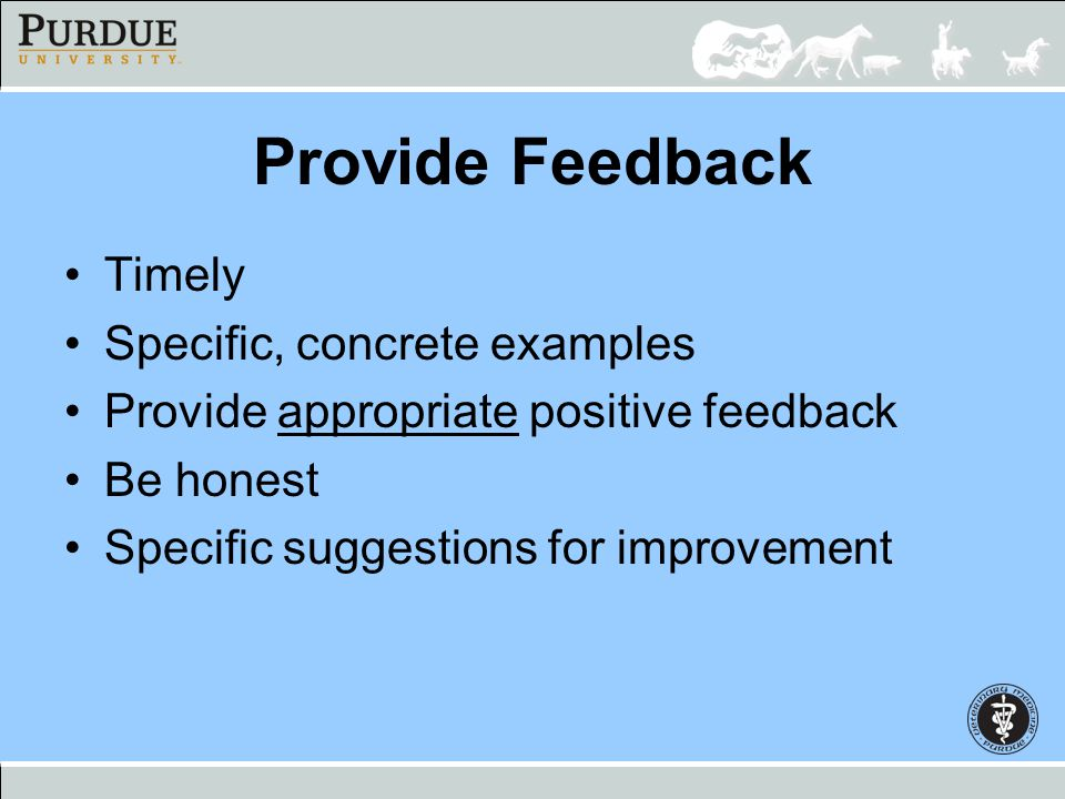 Provide Feedback Timely Specific, concrete examples
