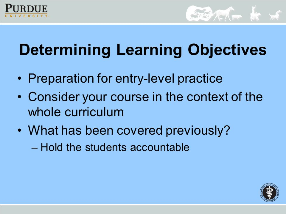 Determining Learning Objectives