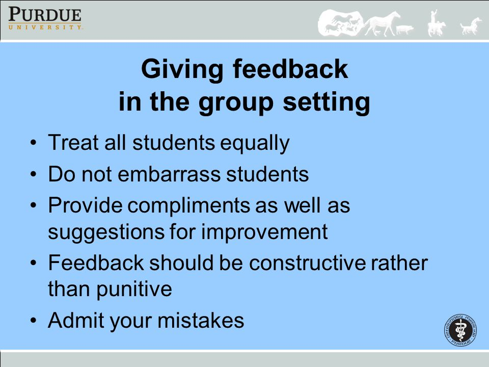 Giving feedback in the group setting