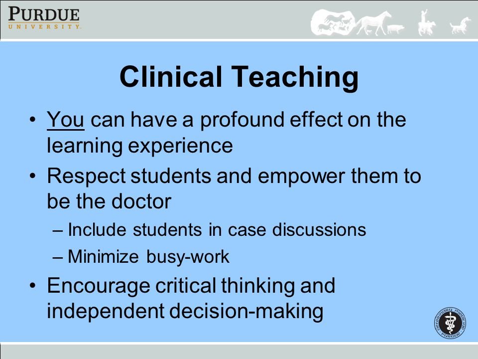 Clinical Teaching You can have a profound effect on the learning experience. Respect students and empower them to be the doctor.