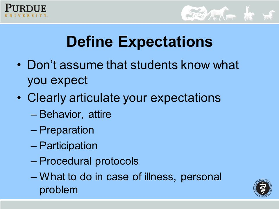 Define Expectations Don't assume that students know what you expect