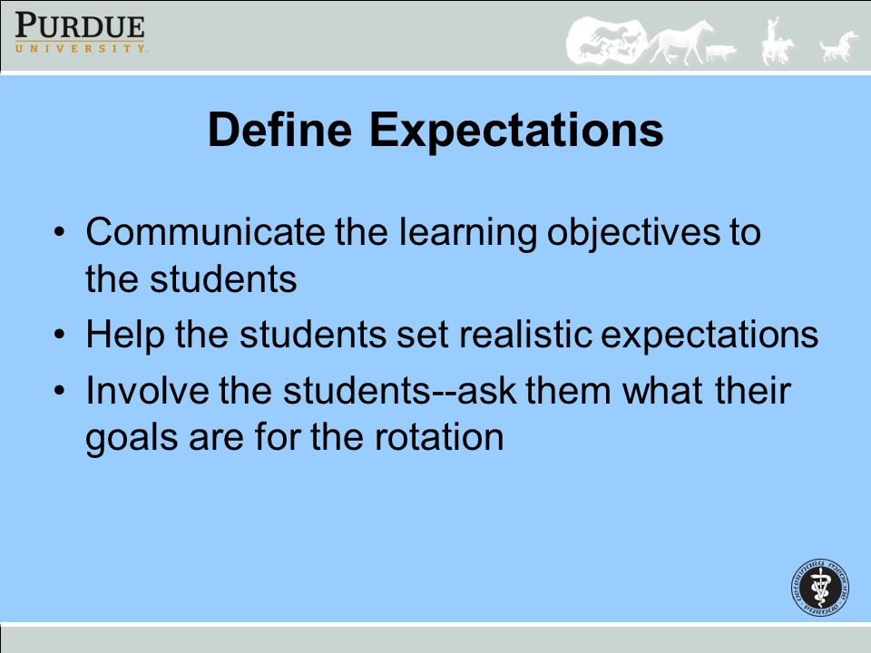 Define Expectations Communicate the learning objectives to the students. Help the students set realistic expectations.
