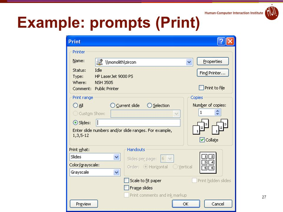 Example: prompts (Print)