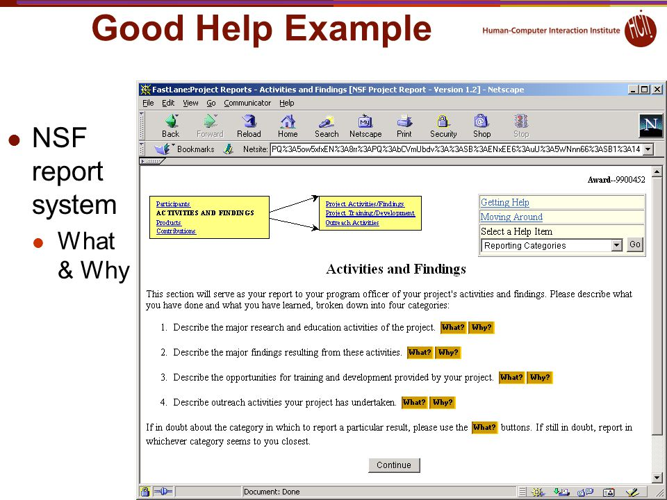 Good Help Example NSF report system What & Why