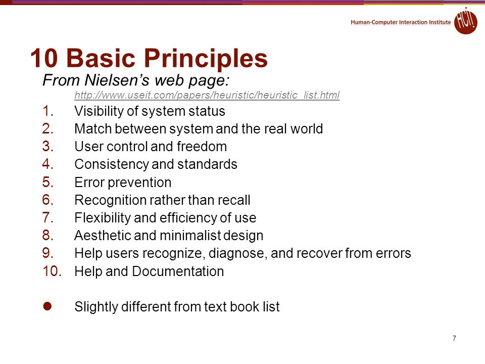 10 Basic Principles From Nielsen's web page: http://www.useit.com/papers/heuristic/heuristic_list.html.