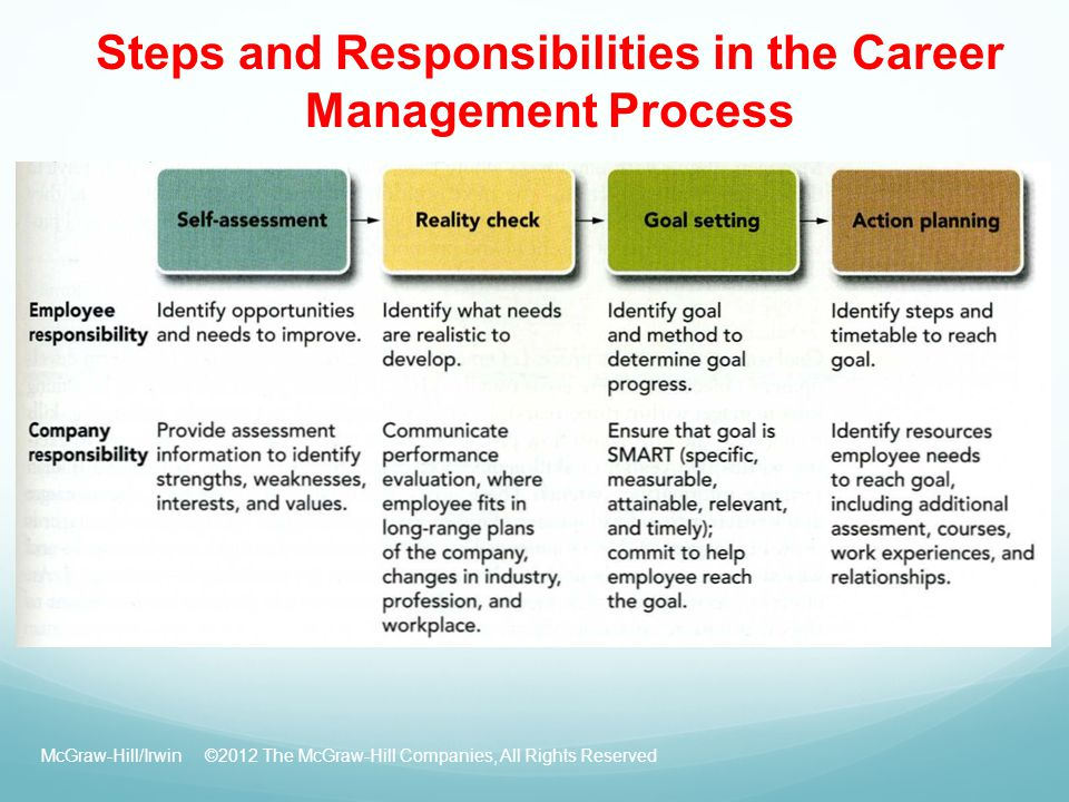 Steps and Responsibilities in the Career Management Process