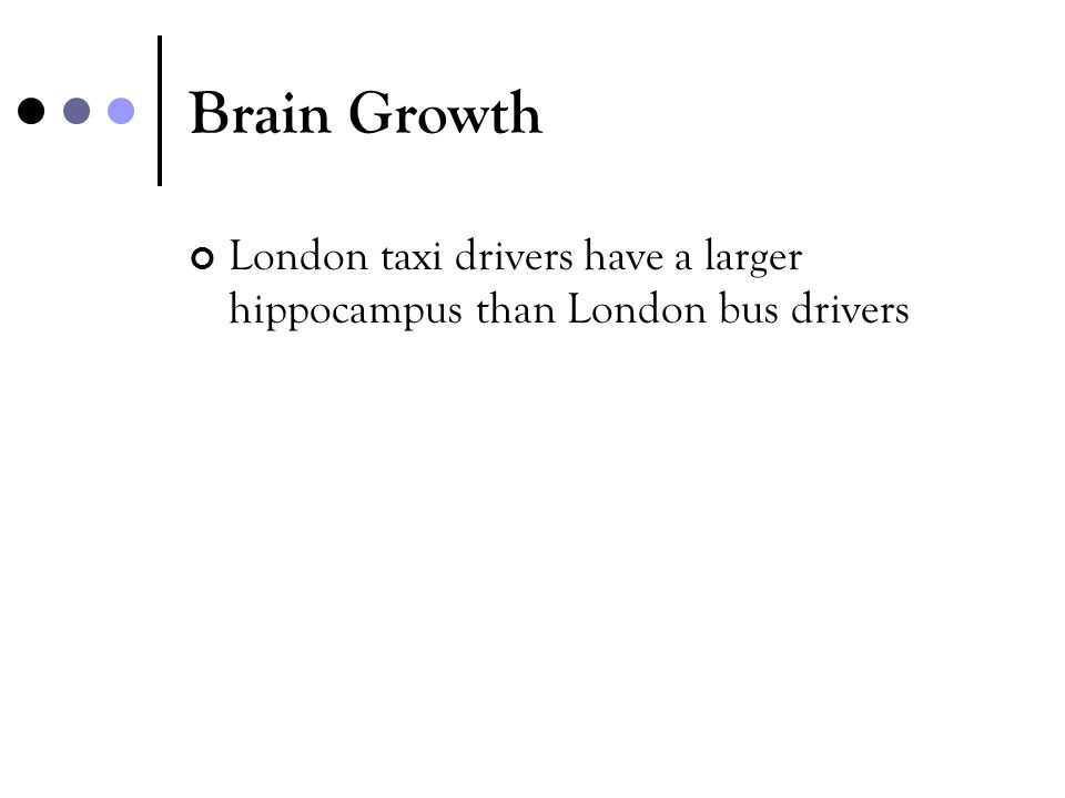 Brain Growth London taxi drivers have a larger hippocampus than London bus drivers.