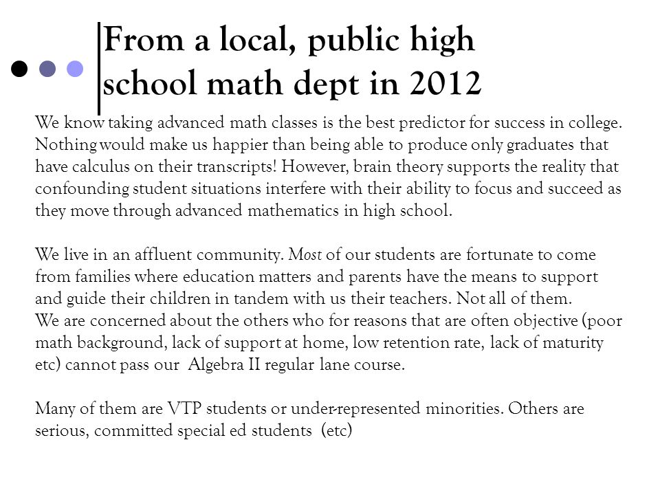 From a local, public high school math dept in 2012