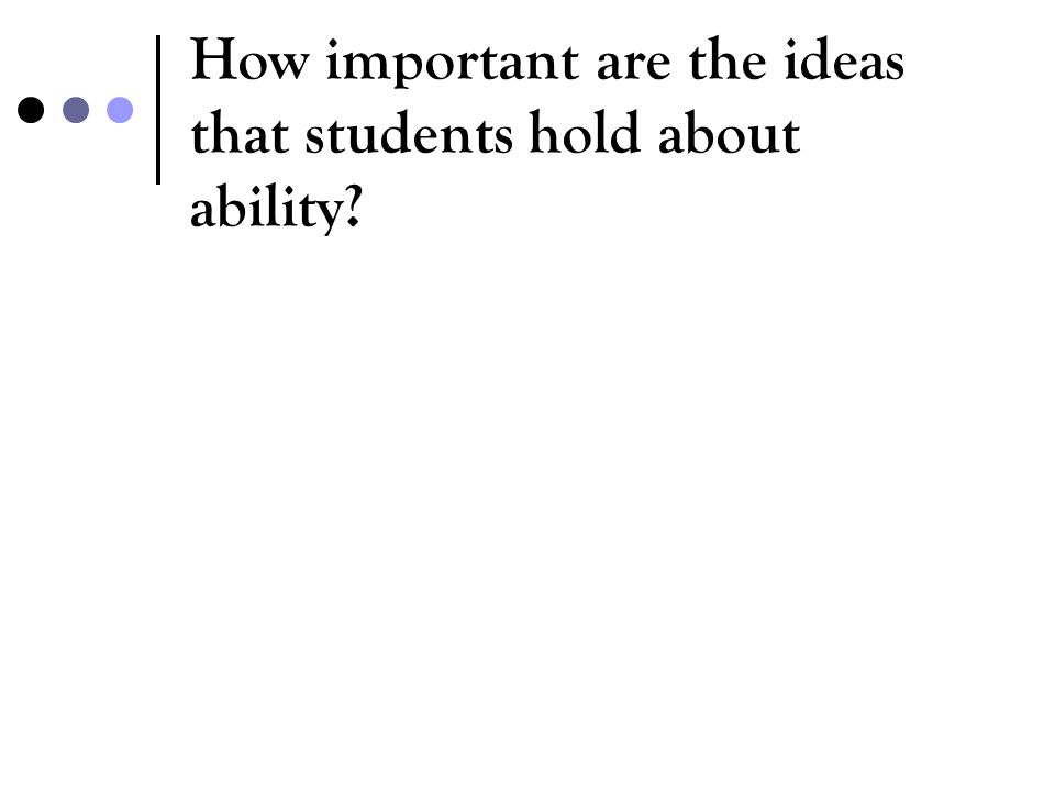How important are the ideas that students hold about ability