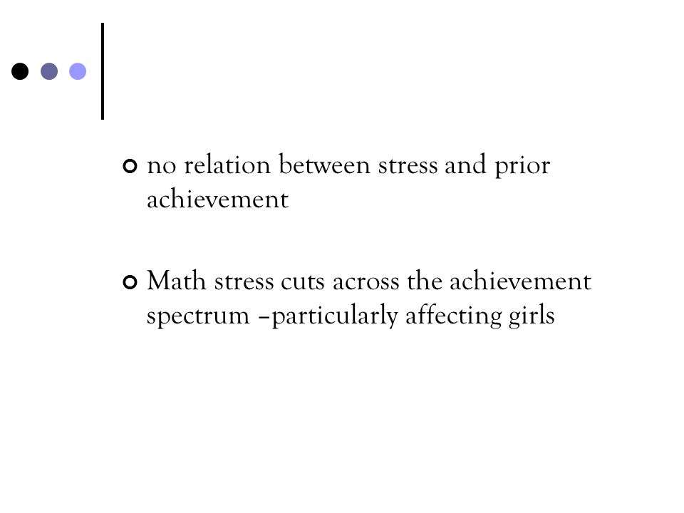 no relation between stress and prior achievement