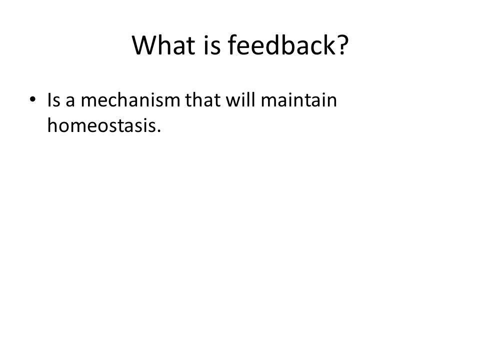 What is feedback Is a mechanism that will maintain homeostasis.