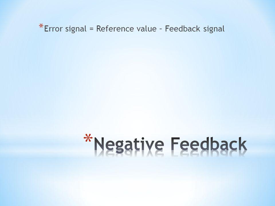 Error signal = Reference value – Feedback signal