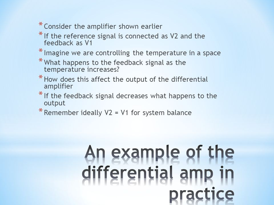 An example of the differential amp in practice