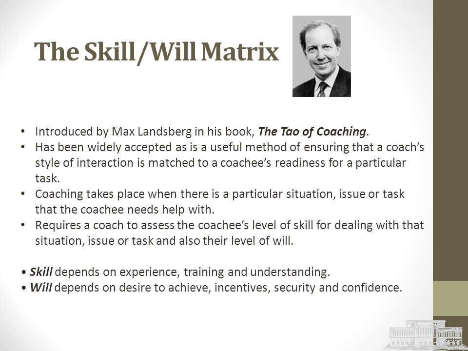 The Skill/Will Matrix Introduced by Max Landsberg in his book, The Tao of Coaching.