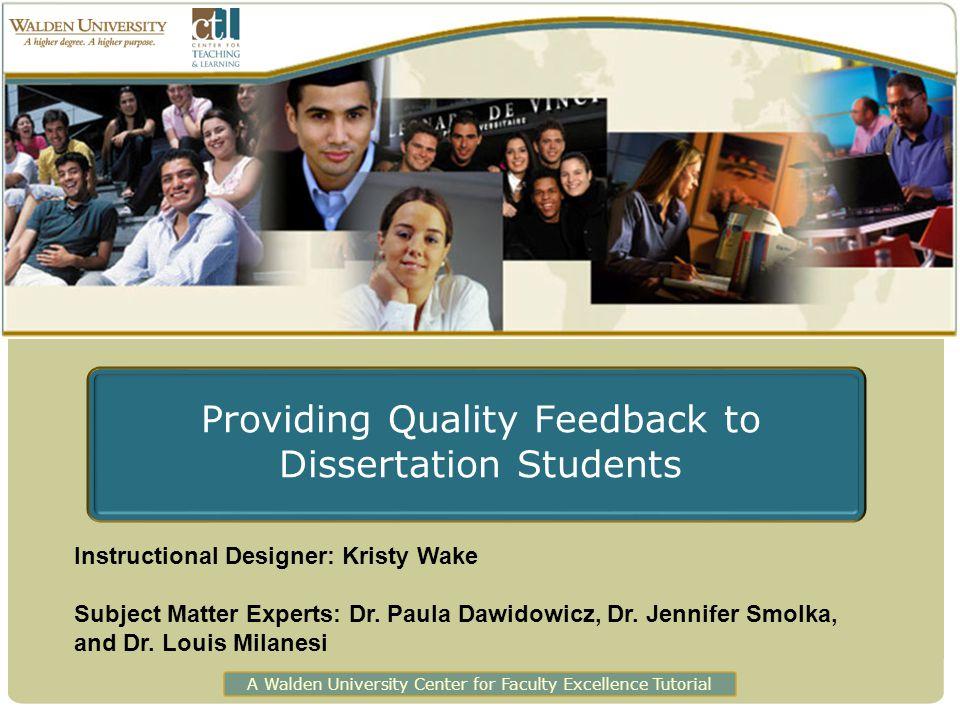 Providing Quality Feedback to Dissertation Students