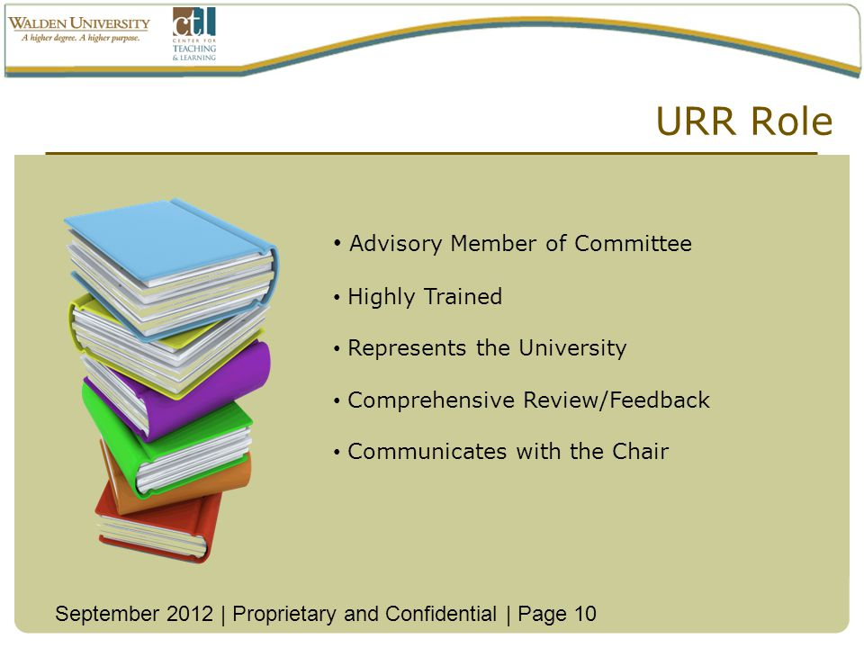 URR Role Advisory Member of Committee Highly Trained