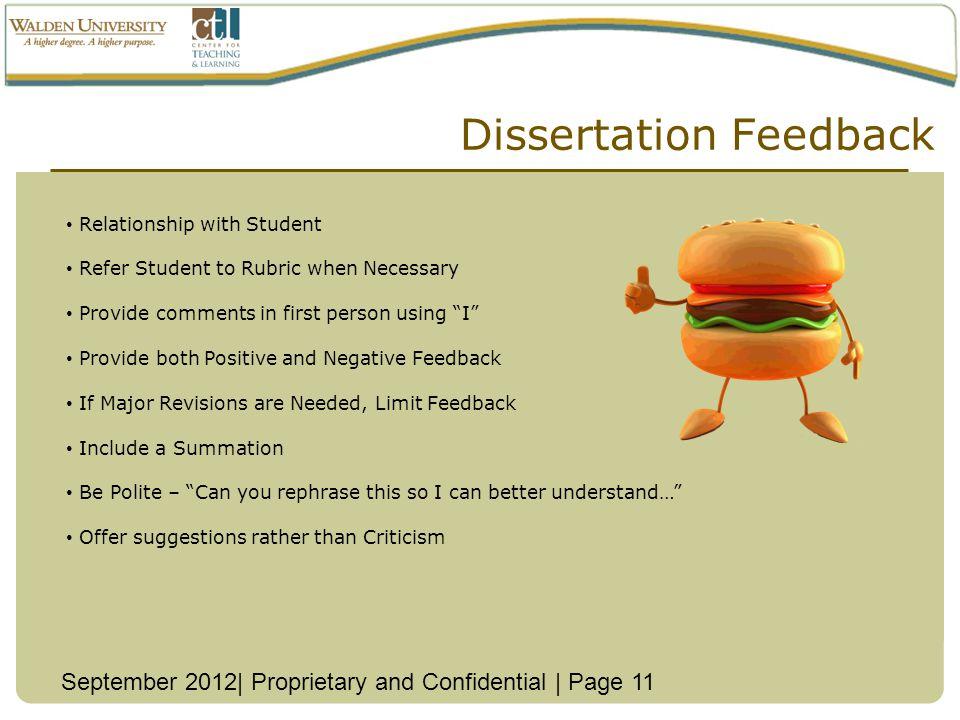 Dissertation Feedback