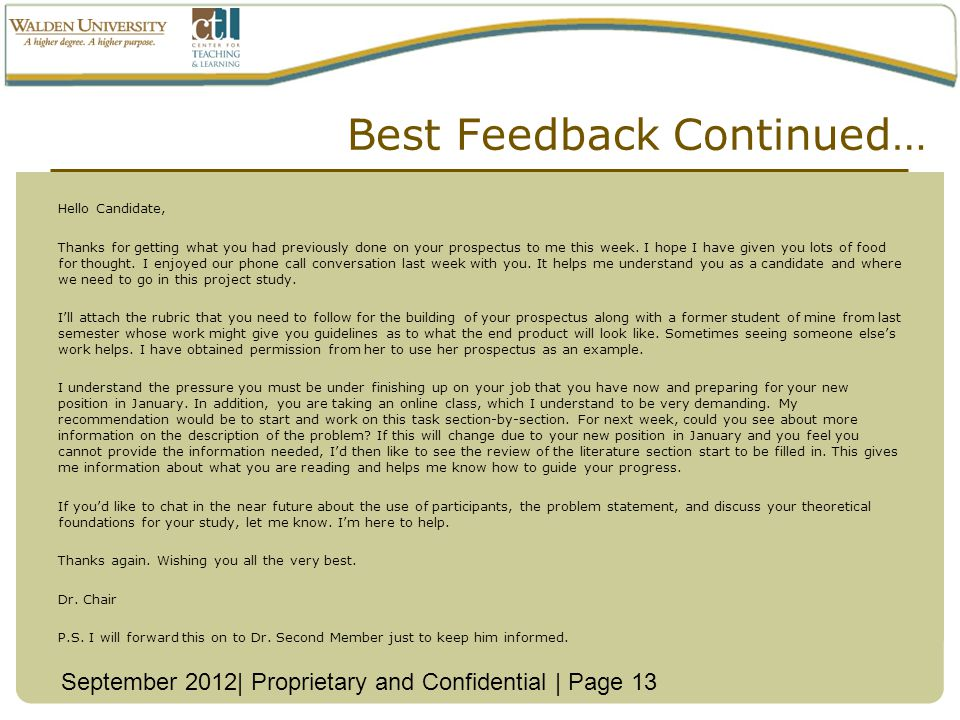 Best Feedback Continued…