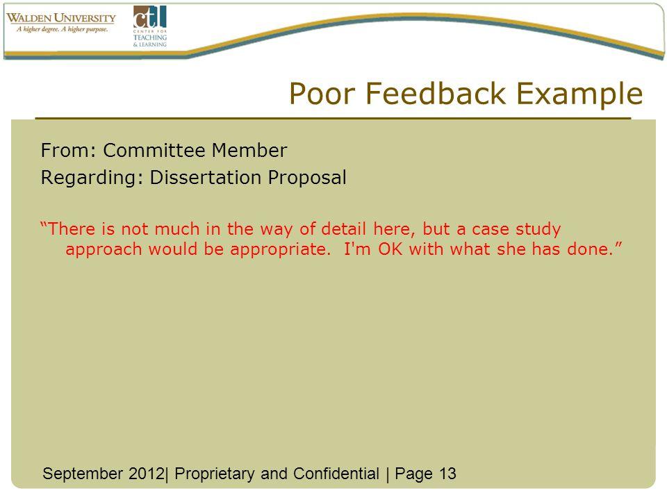 Poor Feedback Example From: Committee Member