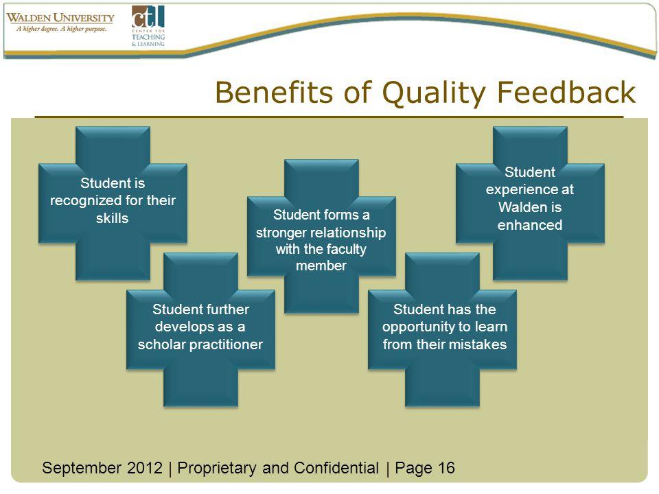 Benefits of Quality Feedback