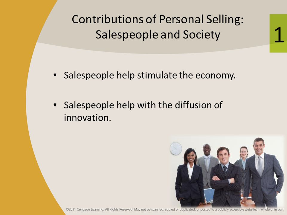 Contributions of Personal Selling: Salespeople and Society
