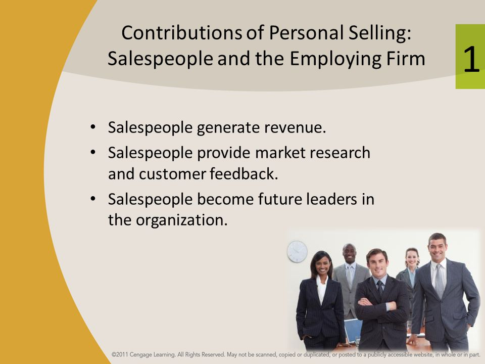 Contributions of Personal Selling: Salespeople and the Employing Firm