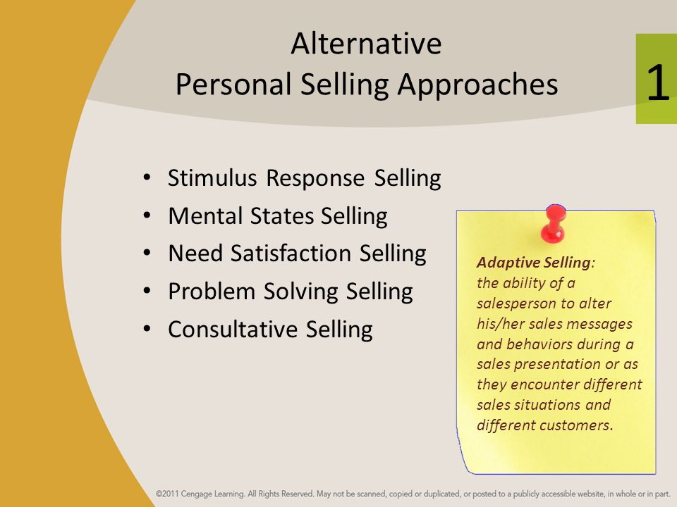 Alternative Personal Selling Approaches