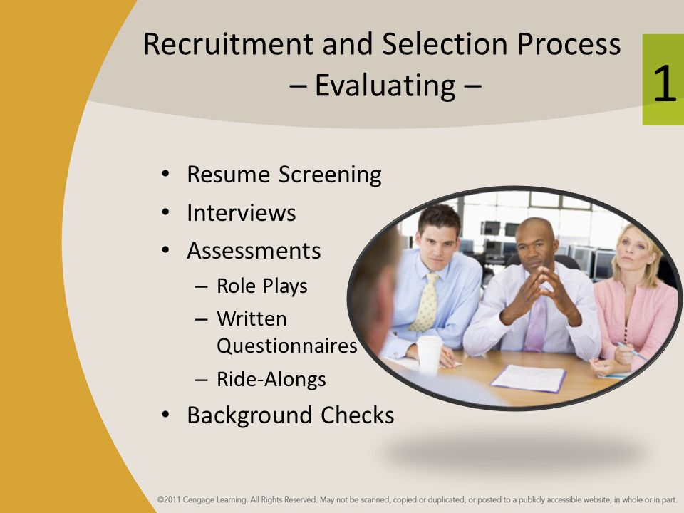 Recruitment and Selection Process – Evaluating –