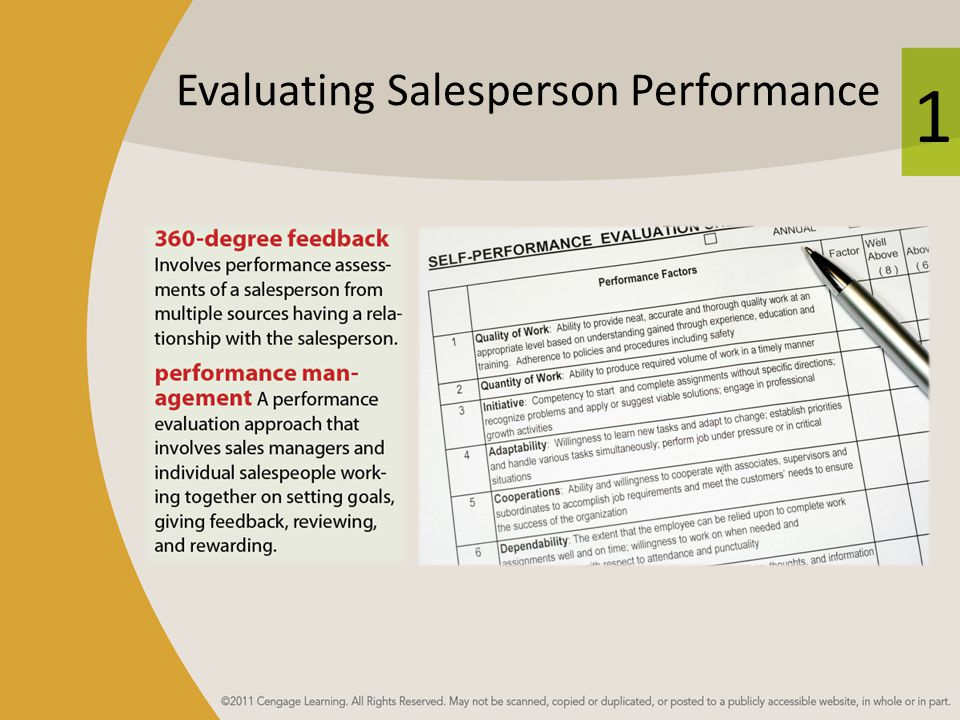 Evaluating Salesperson Performance