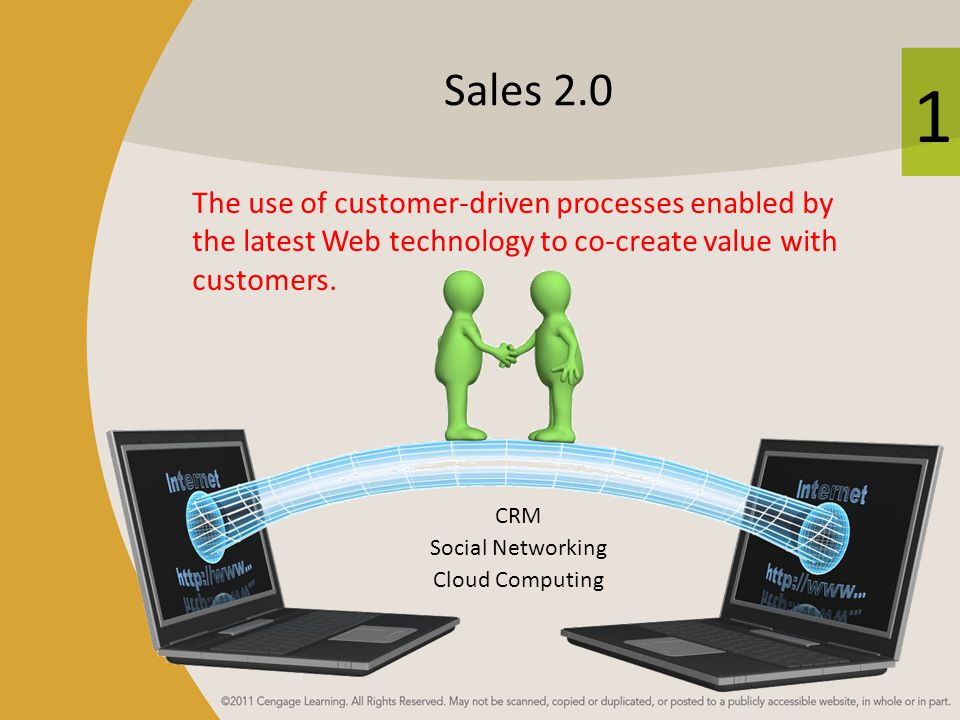 Sales 2.0 The use of customer-driven processes enabled by the latest Web technology to co-create value with customers.