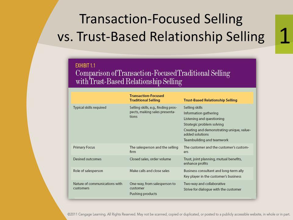 Transaction-Focused Selling vs. Trust-Based Relationship Selling