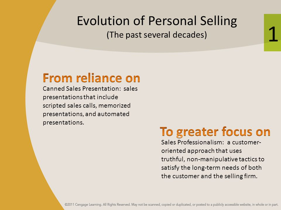 Evolution of Personal Selling (The past several decades)