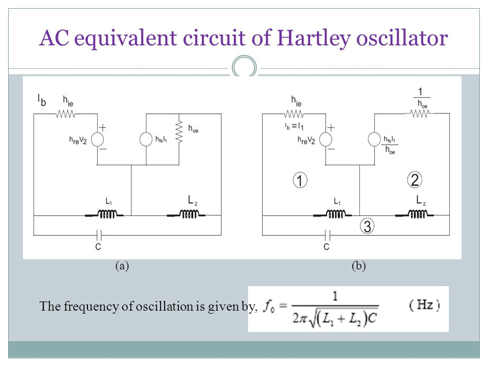 AC equivalent circuit of Hartley oscillator