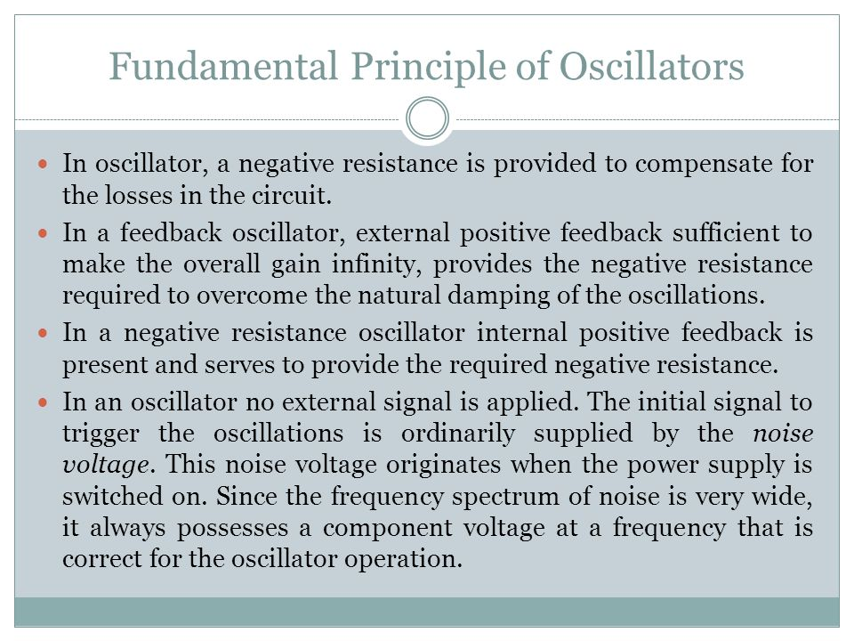 Fundamental Principle of Oscillators