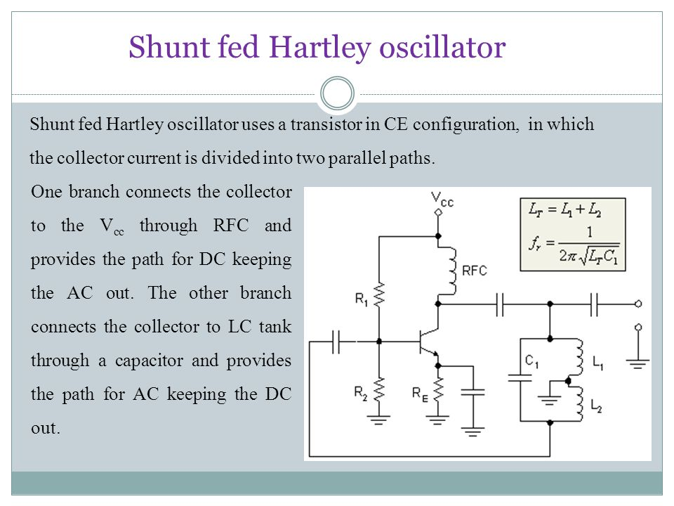 Shunt fed Hartley oscillator