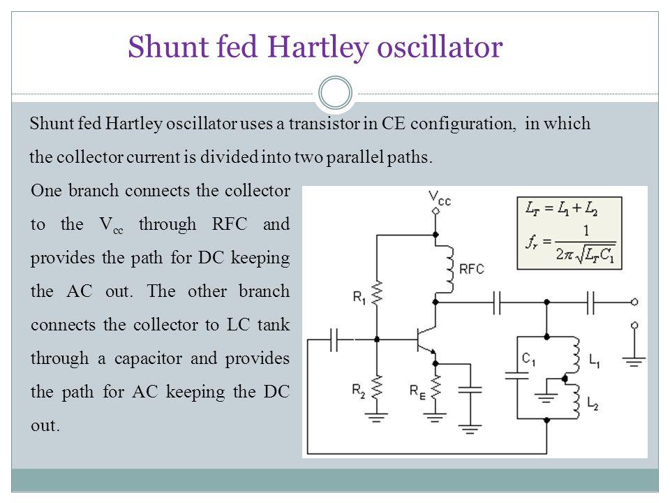 Shunt fed Hartley oscillator