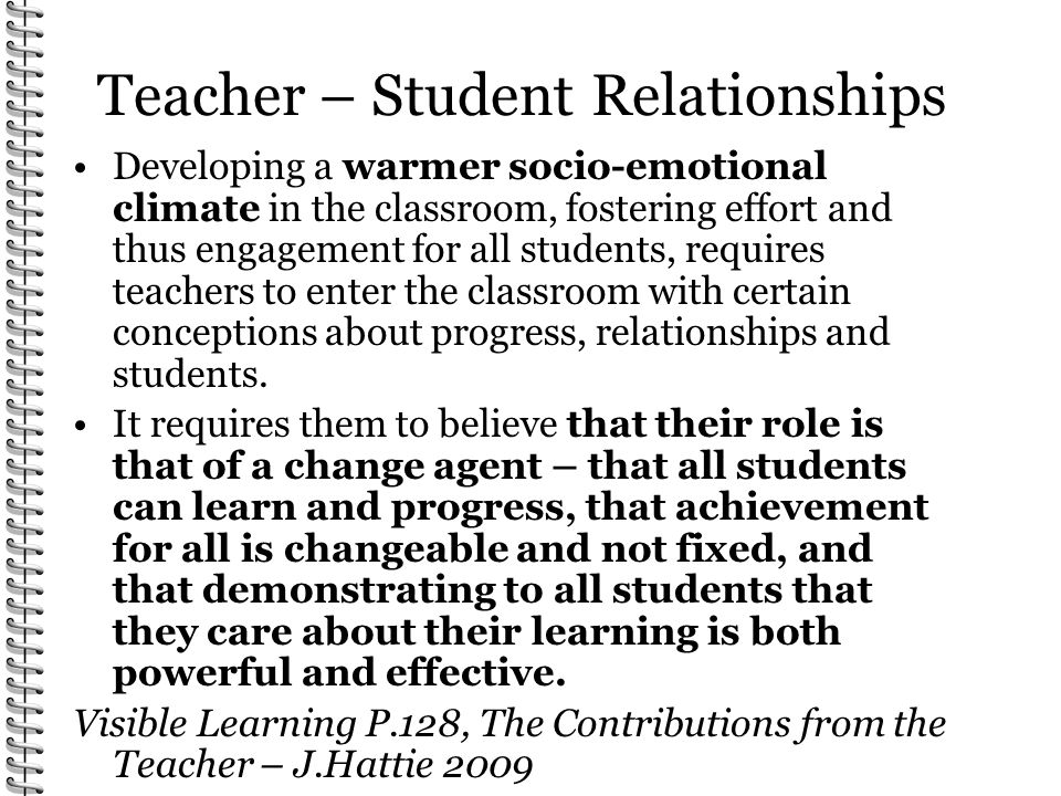 Teacher – Student Relationships