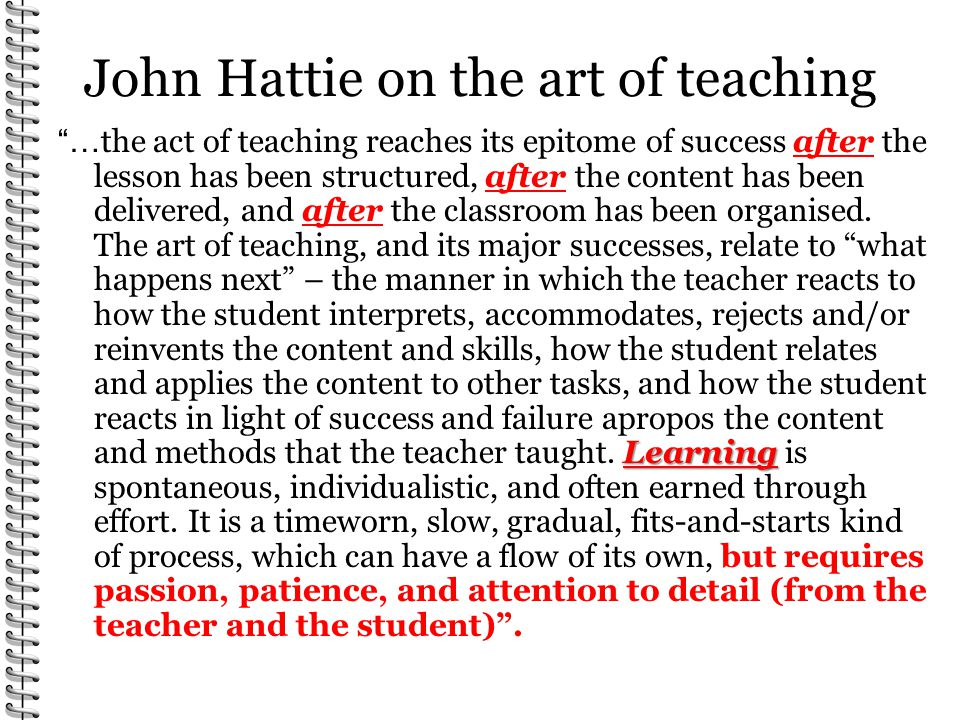 John Hattie on the art of teaching