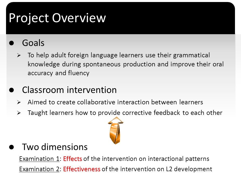 Project Overview Goals Classroom intervention Two dimensions
