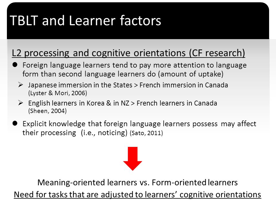 TBLT and Learner factors
