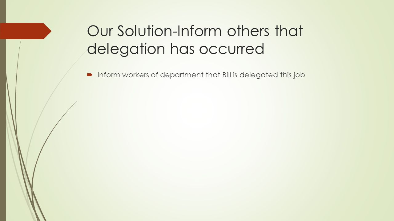Our Solution-Inform others that delegation has occurred
