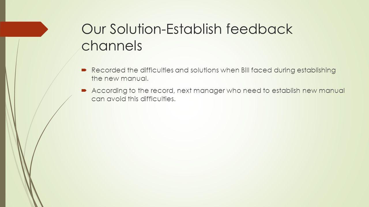 Our Solution-Establish feedback channels