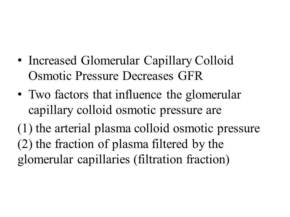 Increased Glomerular Capillary Colloid Osmotic Pressure Decreases GFR