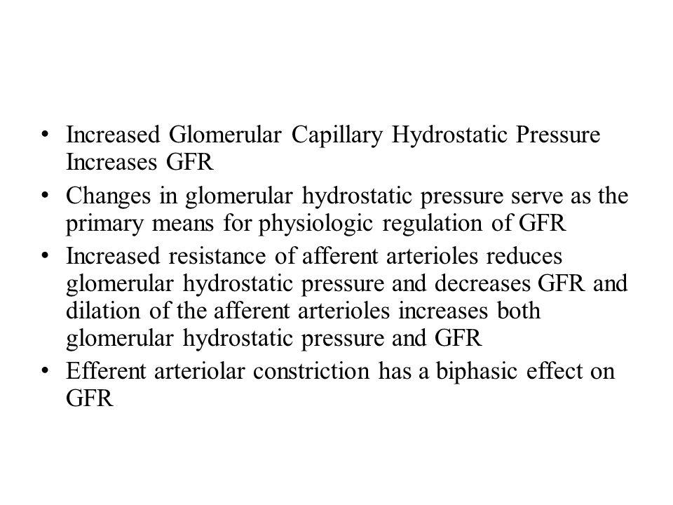 Increased Glomerular Capillary Hydrostatic Pressure Increases GFR
