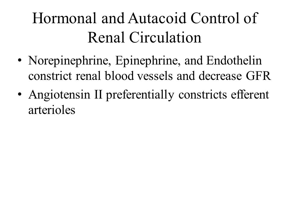 Hormonal and Autacoid Control of Renal Circulation