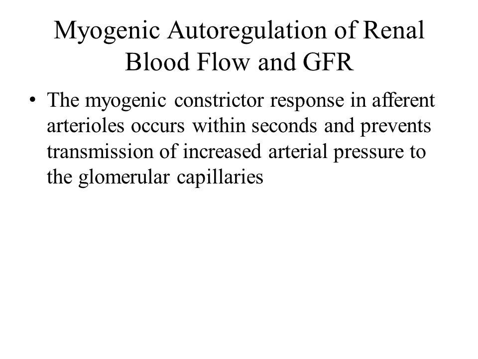 Myogenic Autoregulation of Renal Blood Flow and GFR