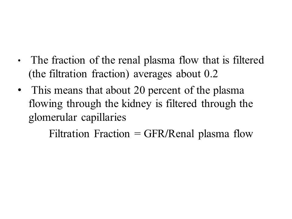Filtration Fraction = GFR/Renal plasma flow