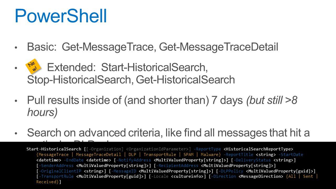 PowerShell Basic: Get-MessageTrace, Get-MessageTraceDetail